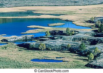 montagne, season., rivières, lakes., automne, vallée, vue