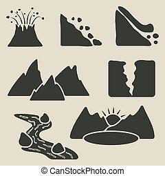 montagne, set, icone