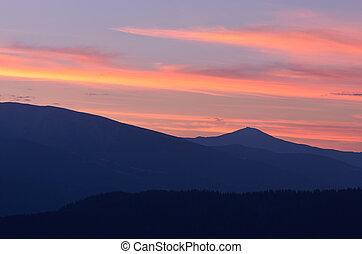 montagne, silhouette, alba