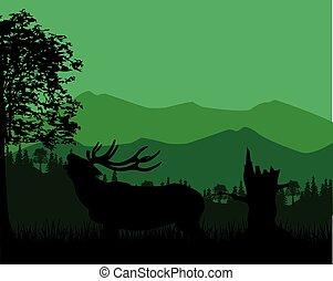 montagne, silhouette, cerf
