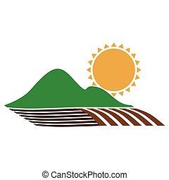 montagne, silhouette, ensemencer, coloré, soleil