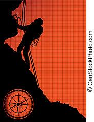 montagne, silhouette, grimpeur