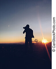 montagne, silhouette, homme