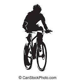 montagne, silhouette, isolé, cyclisme, motard, vecteur