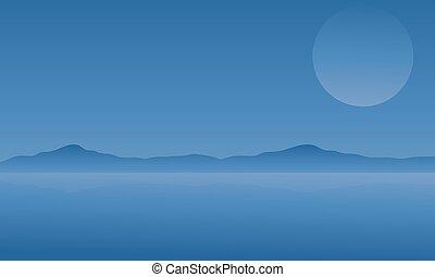 montagne, silhouette, lune