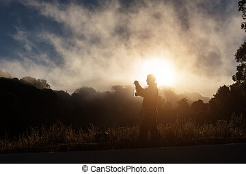 montagne, silhouette, photo, prendre, th, chiang mai, homme