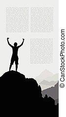 montagne, silhouette, surmontez, main, homme