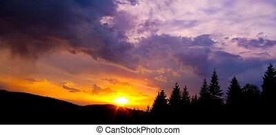 montagne, silhouette, tramonto, colorito, cielo