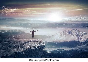 montagne, silhouette, uomo