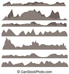 montagne, silhouettes, ensemble, gris