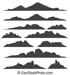 montagne, silhouettes, ensemble