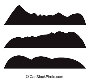montagne, silhouettes, fond blanc