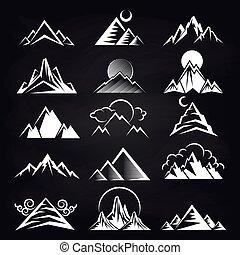montagne, silhouettes, fond blanc, tableau noir