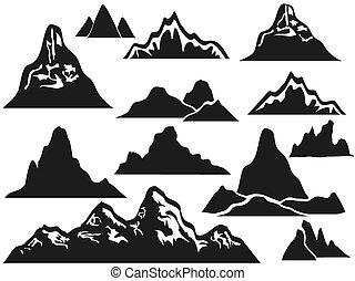 montagne, silhouettes