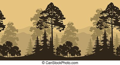 montagne, silhouettes, paysage, seamless, arbres