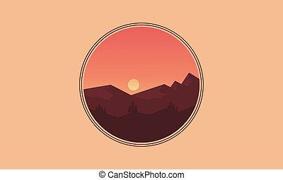 montagne, silhouettes, vecteur, paysage, icône