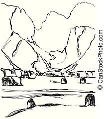 montagne, sketch., campi, mano, disegnato, paesaggio