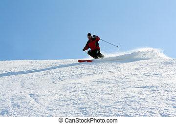 montagne, ski, homme