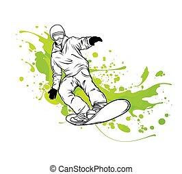 montagne, snowboarder., récréation, sports, hiver, vecteur, sport, illustration, activités