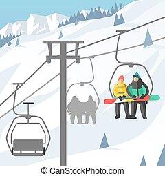 montagne, snowboarder, séance, ascenseurs, gondole, ascenseur, gens, repos, saut, recours, snowboard, vecteur, illustration, sport, ski, levage, hiver
