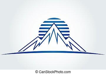 montagne, sole, vettore, icona, logotipo