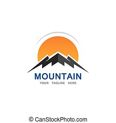 montagne, soleil, logo, gabarit, business