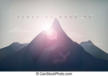 montagne, soleil, matin
