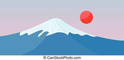 montagne, soleil, sommet, neige, fuji, rouges