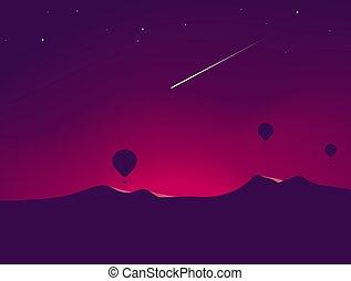montagne, sombre, sur, voler, air, chaud, météore, nuit, ballons