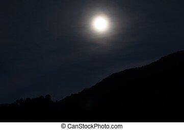 montagne, sopra, luna