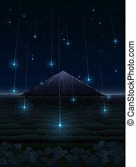 montagne, starfall, paysage, nuit