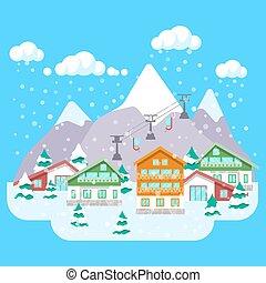 montagne ski paysage hiver fond montagne hiver clip art vectoriel rechercher des. Black Bedroom Furniture Sets. Home Design Ideas