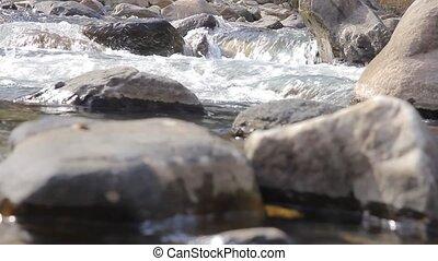 montagne, stones., closeup, rivière, rapides