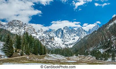 montagne, stupéfiant, hiver, panorama, vallée, alpin