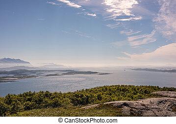 montagne, stupéfiant, mer, rural, norvège, paysage