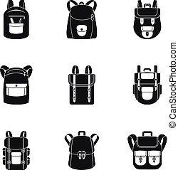 montagne, style, ensemble, sac à dos, simple, icône