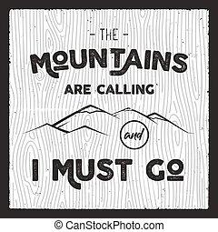 montagne, style, go., silhouette, card., écusson, vendange, voyage, typographie, affiche, main, retro, citation, brochure, dessiné, appeler, devoir