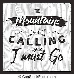 montagne, style, go., silhouette, card., affiche, voyage, typographie, appeler, citation, badge., retro, vendange, dessiné, main, devoir