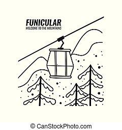 montagne, style, illustration., paysage., funiculaire, griffonnage, cabins., recours, vecteur, ski