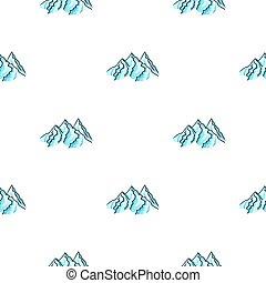 montagne, style, illustration., recours, modèle, isolé, arrière-plan., gamme, vecteur, blanc, icône, ski, dessin animé, stockage