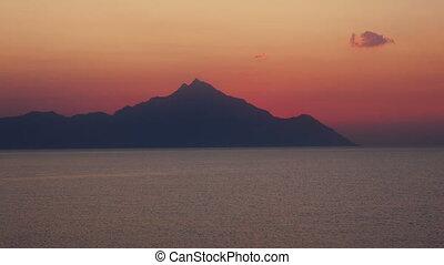 montagne, sur, 4k, mer, levers de soleil