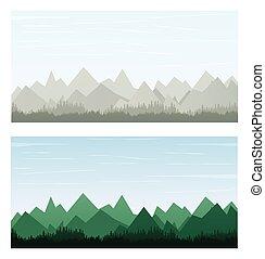 montagne, sur, gris, et, vert, couleur, bannière