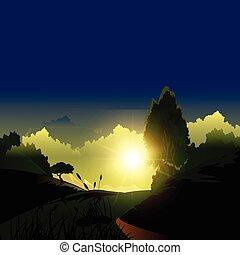 montagne, sur, levers de soleil