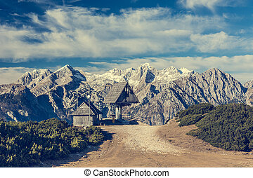 montagne, télésiège, bois, hutte, front., vue