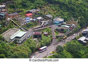 montagne, taipei, ruifang, district, secteur, taiwan, jiufen