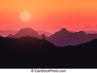 montagne, tenu, 3107, coucher soleil, paysage, homme