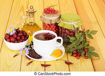 montagne, thé, hanches, tasse, lumière, wood., cendre, huile