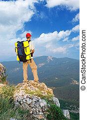 montagne, touriste, homme