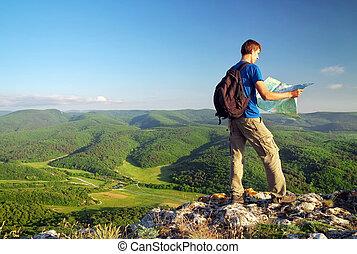 montagne, touriste, lire, sommet, map., mountain., homme
