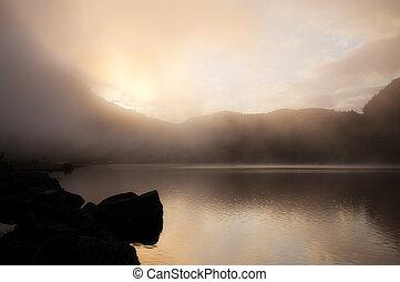 montagne, trame, ciel, eau, fjord, norvège
